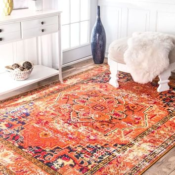 The Curated Nomad Marcela Floral Medallion Orange Area Rug - 5'3 x 7'7 | Overstock.com Shopping - The Best Deals on 5x8 - 6x9 Rugs