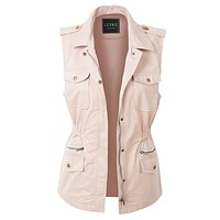 Zip Up Drawstring Waist Military Anorak Vest with Pockets