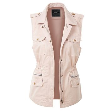 LE3NO Womens Zip Up Drawstring Waist Military Anorak Vest with Pockets