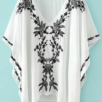 White Floral Embroidery V-Neck Butterfly Sleeve Top
