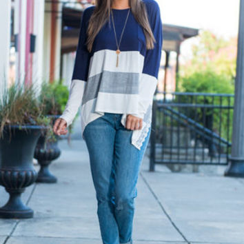 My Perfect Choice Top, Navy-Ivory