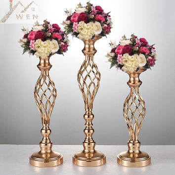 Creative Hollow Gold/ Silver Candle Holders Centerpieces