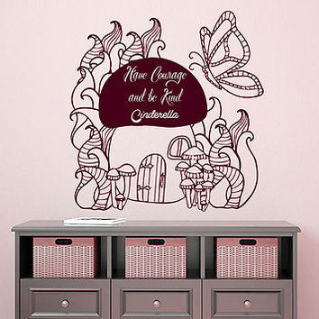 Girls Wall Decal Cinderella Quotes Sticker Girl Nursery Kids Room Decor DS395