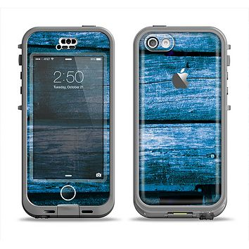 The Grunge Blue Wood Planks Apple iPhone 5c LifeProof Nuud Case Skin Set