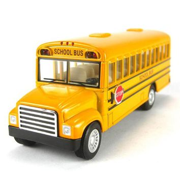American school bus students Shuttle Back to school bus alloy car Child toy car model