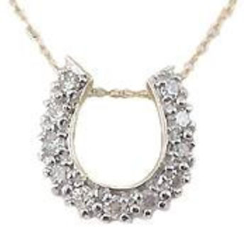 10K ( Yellow or White Gold Available) 1/4 ct tw Diamond Horseshoe Necklace, by Ben Brantley & Company
