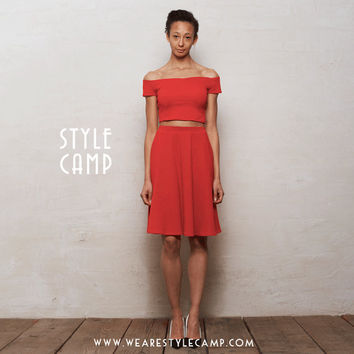 Coco Two-Piece Crop Top & Skater Skirt Co-Ord Set in Bright Red