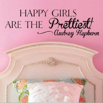 Happy Girls Are the Prettiest Audrey Hepburn Vinyl Wall Decal Sticker