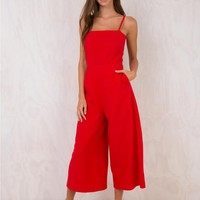 Red Road To Nashville Tie Back Jumpsuit
