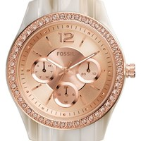 Women's Fossil 'Stella' Crystal Bezel Resin Bracelet Watch, 38mm
