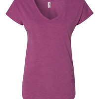 Heather Raspberry Ladies' Triblend V-Neck T-Shirt-Available in Several Sizes and GREAT Colors.