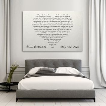 Lyrics In A Heart Canvas - Personalized Canvas