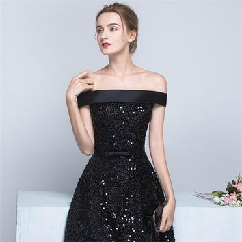 Boat Neck Sleeveless Cocktail Dresses Famous Simple Luxury Bling Sequined Little Black Dress