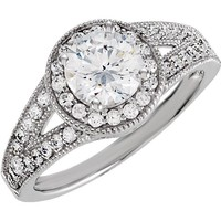 Sterling Silver Cubic Zirconia Round Halo Split Shank Engagement Ring