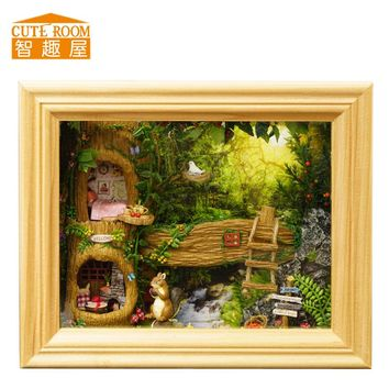 DIY Wooden House Miniaturas with Furniture DIY Miniature House Dollhouse Toys for Children Christmas and Birthday Gift  W06