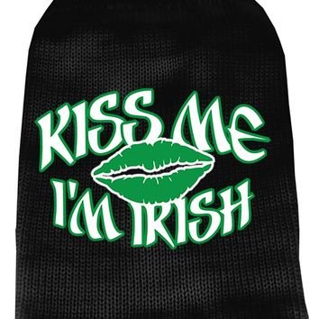 Kiss Me Im Irish Screen Print Knit Pet Sweater Md Black Medium