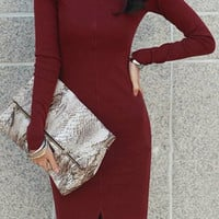 Red Turtle Neck Long Sleeve Midi Dress
