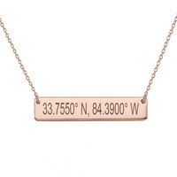 """GPS Coordinates 18k Rose Gold Plated Bar Necklace 1"""" inch Rose Bar Necklace Latitude Longitude necklace Coordinates made with 925 silver"""