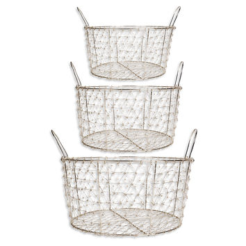 Set of 3 Silver Plated Baskets w/Handles, Storage Baskets
