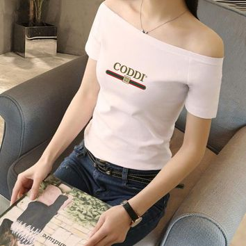 Women Simple Casual Fashion Letter Print Short Sleeve Off Shoulder Bodycon T-shirt Top Tee