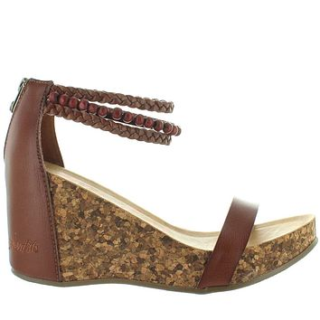 Blowfish Hydro - Clay Brown Boho Back Zip Platform/Wedge Sandal