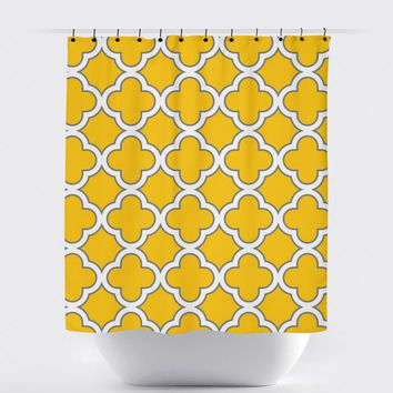 Mustard Morrocan Shower Curtain