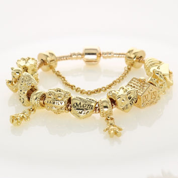 Gold Charm Bracelets Original Classic Design Family Beads For Women's Fashion Bracelets & Bangles Fit Mother's Day Jewelry Gifts