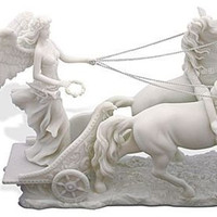 Nike Holding Wreath in Chariot with Horses, Greek Goddess of Victory (Roman Victoria) 13L