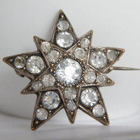 Stunning Antique Victorian Silver Star Brooch With Clear Paste