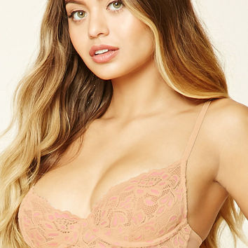 Sheer Floral Lace Underwire Bra