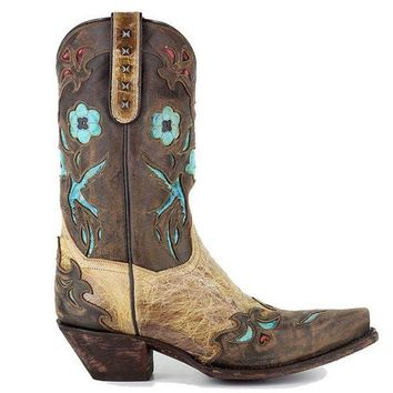 ONETOW Dan Post Blue Bird - Beige/Brown/Turquoise Leather Western Boot