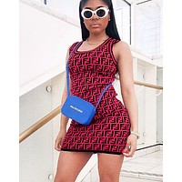 Fendi Women  Fashion New Summer Multicolor More Letter Print Leisure Personality Vest Dress Red