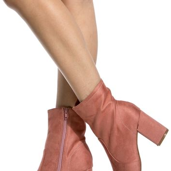 Blush Faux Suede Chunky Ankle Booties @ Cicihot Heel Shoes online store sales:Stiletto Heel Shoes,High Heel Pumps,Womens High Heel Shoes,Prom Shoes,Summer Shoes,Spring Shoes,Spool Heel,Womens Dress Shoes