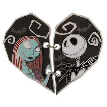 Disney Parks Couples Heart Shaped Stiched Jack and Sally Pin New with Card