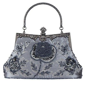 Bagood Womens Vintage Style Roses Beaded And Sequined Evening Bag Wedding Party Handbag Clutch Purse