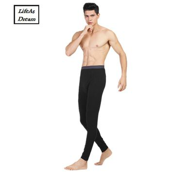 Hot Winter Men Long Johns Cotton Thermal Underwear Men Warm Long Johns Leggings Pants High Quality 4 colour for male 2017 new
