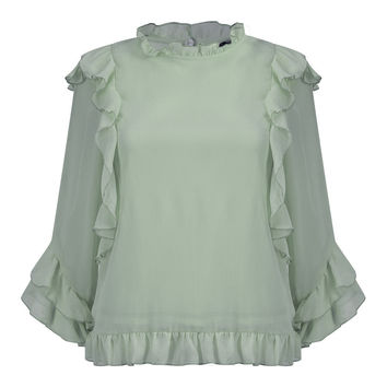 Green Ruffle Trim Long Sleeve Chiffon Blouse