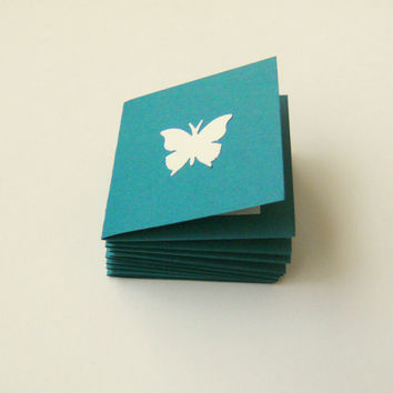 Mini Note Cards Teal Cream Butterfly 2 Inch Square