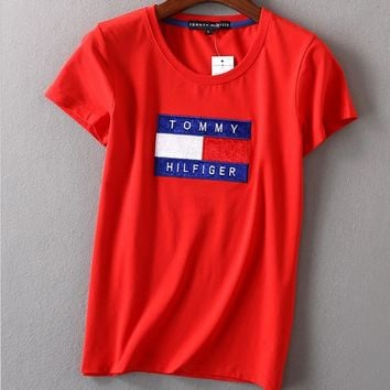 Women Fashion Emboider Tommy Hilfager Monogram Show Thin T-Shirt Top Tee Red