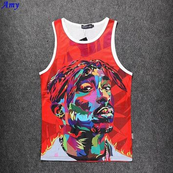 DCCKL3Z Hot men's Tank Tops mesh surface grid Quick-drying sweat  men vest emoji 2pac Digital 3D Asian size M-XXL