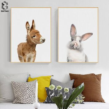 Cute Baby Animal Donkey Canvas Art Print and Poster, Nursery Woodlands Rabbit Canvas Painting Nordic Wall Picture Home Decor