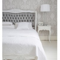 NEW! Bergerac White & Grey Upholstered Luxury Bed