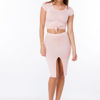 Solid Foundation Knotted Crop Top
