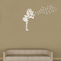 Angel Magic Fairy & Stars 3D Mirror Wall Sticker Kids Bedroom Decoration Gift Creative Little Girl Wall Sticker for Home House