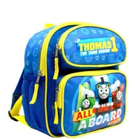 """""""ALL ABOARD"""" Thomas the Train Engine 12""""  Small Toddler Canvas School Backpack"""