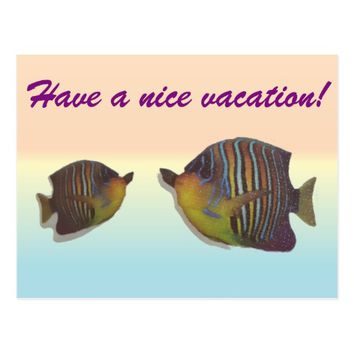cool fishes on rainbow backround postcard
