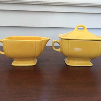 Creamer and Sugar Bowl Set by Homer Laughlin Riviera Yellow Creamer and Lidded Sugar Set in Excellent Condition!