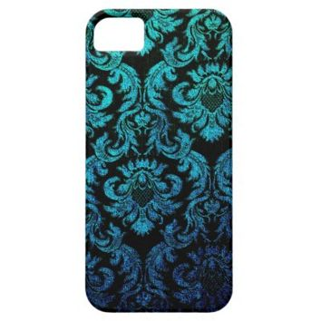 vintage gothic hipster black turquoise damask chic iPhone 5 covers