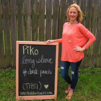 Dark Peach Long Sleeve Scoop Neck Piko Shirt On Sale   Overstock Boutiques