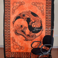 Thai Dragon Print Orange Tapestry Hippy Wall Hanging Indian Throw Bedspread Queen Bed Decor Ethnic Sheet Decorative Art